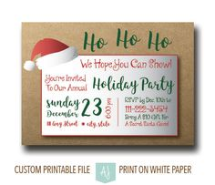 Printable Christmas Party Invites with customization included. Click through for instant cards, customizable cards, holiday decor and more. Or shop our 900+ designs for weddings, anniversaries, new babies, graduations, and more.