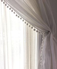 Pair Linen Pom Pom Sheer Curtain 52'' - choose your length - Two Linen 100% panels - Bedroom curtains - available pom pom