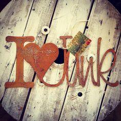 I love Junk Rusty Metal Letters Sign Studio by JunkLoveandCo, $25.00 Junk Love, Rusty, Junk