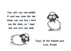 This #ThankYou card is full of sheep puns! Send it to someone to brighten their day! CatPrint Design #562
