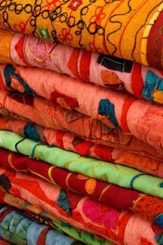 Colorful fabrics stacked Free Photos for free download