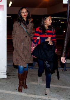 Zoe Saldana and her sister Cisley Saldana arrive at LAX (Los Angeles International Airport).