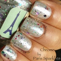Paris Sparkles - Chrome. Used for 1 manicure, and then another time for an accent nail, $6. (only issue I have had is that the glitter sinks to the bottom - I would place it upside down, then forget I put it out)