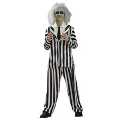 Beetlejuice Teen Costume - Includes: Jacket, pants and dickie. Shoes, makeup and wig not included. Available in teen size Standard. This is an officially licensed Beetlejuice ™ costume. Teen.