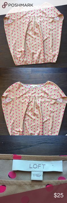 LOFT pink & tan polka dot top This is a tan with pink polka dots top from LOFT. The pink polka dots have a slight black outline. It is cinched at the waist & has short sleeves. In great condition. 100% polyester. Size Small. LOFT Tops