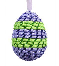 Easter Ribbon Covered Egg Ornament-Blue/Green