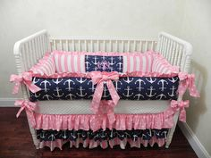 Nautical Baby Crib Bedding Set Tori - Girl Baby Bedding, Navy Anchors With Pink…