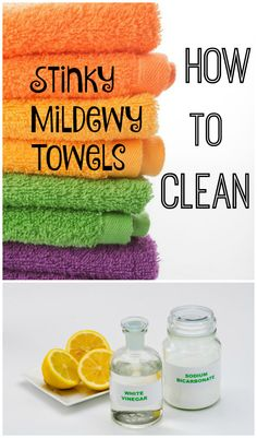 A simple solution to clean those stinky, mildewy towels so they smell fresh and feel fluffy again. Bakerette.com