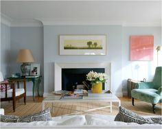 light blue/gray wall + crown molding Beige Living Rooms, Living Room Color Schemes, Transitional Living Rooms, Beautiful Living Rooms, Living Room Paint, Living Room Colors, Living Spaces, Apartment Chic, Apartment Design