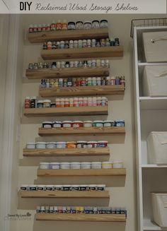 Acrylic Paint Storage, Craft Paint Storage, Craft Shelves, Wood Shelves, Diy Storage Cupboards, Wall Storage, Spice Storage, Spice Racks, Storage Ideas