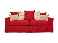 Slipcovered sofa foam cushioning and 7 toss pillows. Made in the USA. Product: SofaConstruction Material: Select hardwoods, cotton, foam and feather down fillColor: RedFeatures: Seven pillows includedMade in the USADimensions: H x W x D Porch Furniture, Furniture Decor, Living Room Furniture, Furniture Design, Best Sofa Covers, Entertainment Furniture, Red Sofa, Sofa Sale