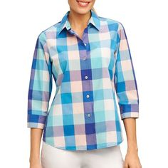 Foxcroft Plus Mi Amor Matador Checked Button-Down Shirt ($57) ❤ liked on Polyvore featuring tops, ruby red, button down shirt, three quarter sleeve shirts, stitch shirt, button up shirts and three quarter sleeve tops