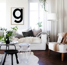 Letter G Print Scandinavian Single Letters g G by AngelinasArtShop