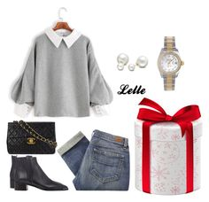 """SheIn(sheinside) Contrast Trim Lantern Sleeve Button Back Blouse"" by lellelelle on Polyvore featuring Paige Denim, Acne Studios, Chanel, Rolex and Allurez"