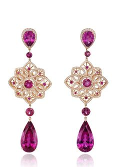 Chopard Unveils 2014 Red Carpet Collection. Byzantine earrings, designed as an openwork pendant of diamond-set heart-shaped motifs suspending a pear-shaped rubellite, to the similarly set delicate fine link chain.