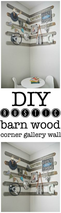 DIY corner gallery wall for a boys room using old barn wood, antlers, & other rustic details. The perfect focal point for any room & so easy...
