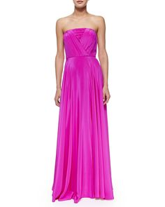 Monica Strapless Shirred-Bodice Maxi Dress, Pink - Milly