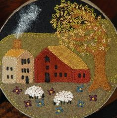 "Wool Applique Pattern ""Safe Pasture"" stoneware primitive butter crock fabric covered paper mache box – Horse and Buggy Country Wool Applique Designs"
