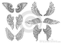 Wings Tattoo Template