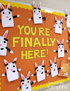 First week of school activities and bulletin board with You're Finally Here! by Melanie Watt