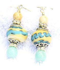 Handmade Lampwork Earrings aqua blue lampwork beads LE15