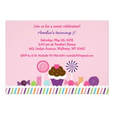 Sweet Shop Candy Birthday Invitations