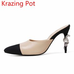 Fashion Mixed Color Pointed Toe Mules Pearl Snake Fastener Genuine Leather Slipper Brand Shoes Women Sandals High Heels Shoes 29