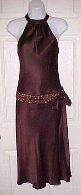 Sz 2 Elegant Beaded ANNE KLEIN Brown 100% Silk Satin Halter Dress Prom