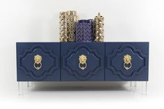 Marrakesh 3 Door Credenza in Navy