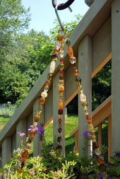 Natural colors beaded hanging basket wire