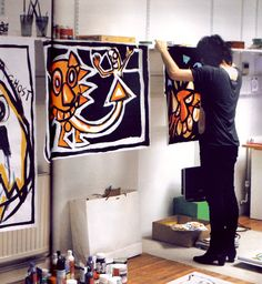 Noel Fielding in his studio