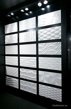 Three dimensional tile for wall Textured Wall Panels, 3d Wall Panels, Tile Showroom, Showroom Design, Deco Design, Tile Design, 3d Wandplatten, 3d Wall Tiles, 3d Tiles Bathroom