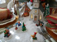 A Christmas Tablescape with the Churches of Dept. 56