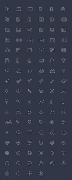 Free Download : 100 Line-Style Icons