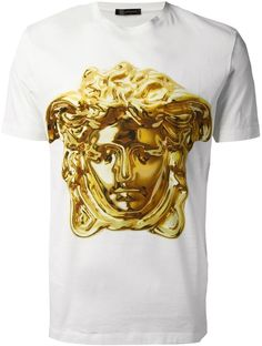 White Print Crew-neck T-shirt by Versace. Buy for $633 from farfetch.com