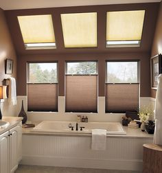 Skylight Shades & Blinds - Light Filtering and Blackout Covers Skylight Shade, Skylight Design, Skylight Window, Bay Window, Ceiling Design, Cellular Blinds, Cellular Shades, Vertical Window Blinds, Blinds For Windows