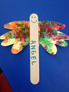 Sunday School craft for toddlers, Popsicle stick angel with cut out hands for the wings!