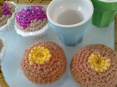 Crocheted buns and cupcakes