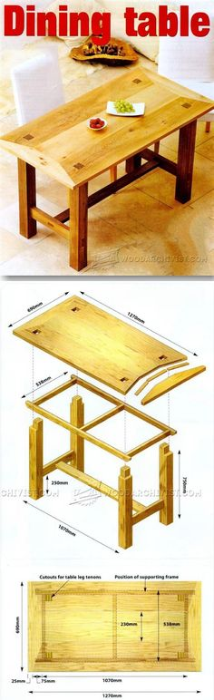 Dining Room Table Plans - Furniture Plans and Projects | http://WoodArchivist.com