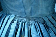 1860 Indigo Blue Wool Stripe Ladies Day Wear Dress w Velvet Trimmings | eBay