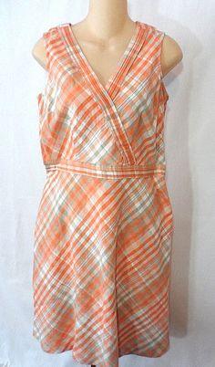 LL Bean Womens Linen/Cotton Dress Lt.Apricot Sleeveless Size 10 Reg New With Tag #LLBean #AsymmetricalHemSundress #Casual