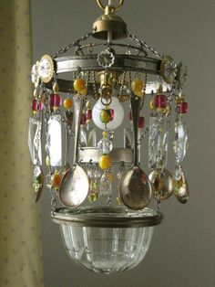 Handmade kitchen chandelier made from vintage crystals, beads, chains and spoons