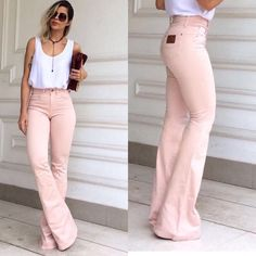 Bell Bottom Pants, Bell Bottoms, Looks Camisa Jeans, Feminine Style, Work Fashion, Catwalk, Street Wear, Khaki Pants, My Style