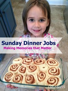 A system called Sunday Dinner Jobs that creates quality family time surrounding Sunday meals.