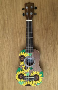 Hand-Painted Ukulele Natural Sunflowers