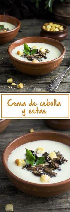 Crema de cebolla y setas al toque de azafrán Soup Recipes, Vegan Recipes, Pasta Soup, Le Chef, Soups And Stews, Cooking Time, Creme, Food And Drink, Yummy Food