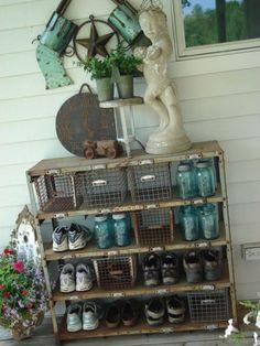 love the locker shelves...mason jars & pool baskets