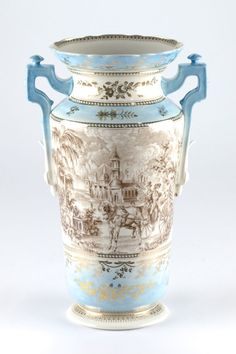 """Antique style Chinoiserie Chinese Ornate Vase Edwardian Blue Brown Mark 34cm 13"""" #Chinoiserie"""