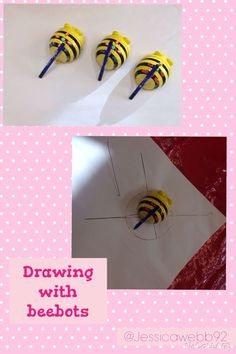 Drawing using beebots. Attach pens to beebots and they will draw as you program them.: