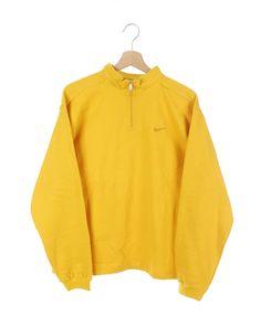 Vintage 90s Nike small Swoosh Sweatshirt yellow SIze S